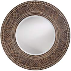 "Antique Oak and Maple Finish Round 35"" Wide Wall Mirror"