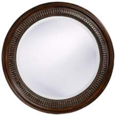 "Antique Brown Beaded Round 26"" Wide Wall Mirror"