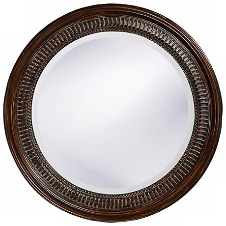 Marcy Silver Wood   Wide Round Wall Mirror Y Www