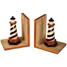Set of Two Black and White Lighthouse Bookends