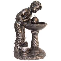 Young Boy Antique Bronze Fountain
