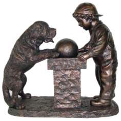 Young Boy and St. Bernard Dog Antique Bronze Fountain