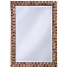 "Antique Mottled Copper Finish Ribbed 41"" High Wall Mirror"