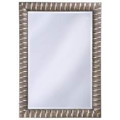 "Antique Mottled Silver Finish 41"" High Wall Mirror"