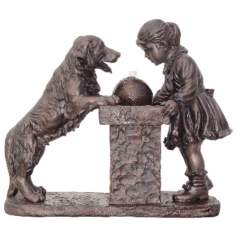 Young Girl and Labrador Dog Antique Bronze Fountain