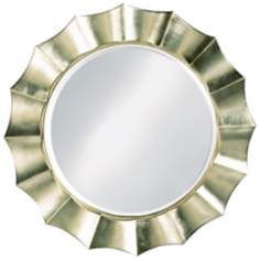 "Silver Finish Sun Shadow Round 41"" Wide Wall Mirror"