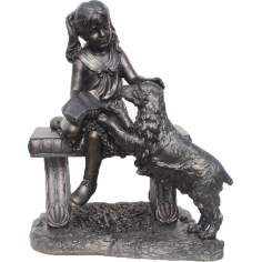 Young Girl Sits on Bench with Dog Sculpture