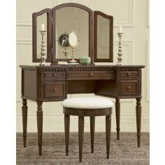 Warm Cherry Vanity with Mirror and Upholstered Stool