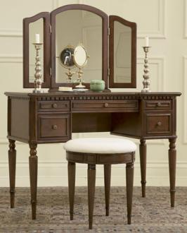 Warm Cherry Vanity with Mirror and Upholstered Stool (H5629)