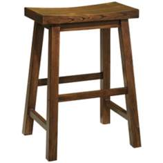 "Distressed Honey Brown Wood 24"" High Counter Stool"