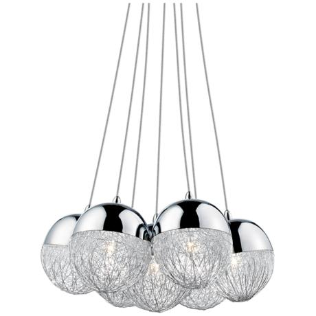 Sonnet Winding Globe 7-Light Chrome Pendant Light