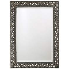 "Antique Black Finish Openwork 35"" High Wall Mirror"