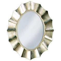 "Corona Silver Leaf 40"" High Oval Wall Mirror"
