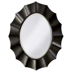 "Black Lacquer Finish Sun Shadow Oval 40"" High Wall Mirror"