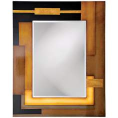 "Black Gold and Beige Lacquered 45"" High Wall Mirror"