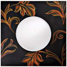 "Black Finish Hand-Painted Floral Accent 36"" Wide Wall Mirror"