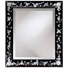 Black Lacquer Finish Faux Mother of Pearl Wall Mirror