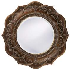 Antique Copper Finish DecorativeTrim Round Wall Mirror