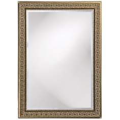 "Silver Finish Black Trim European Style 44"" High Wall Mirror"