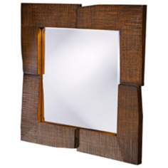 "Textured Faux Oak Stain Contemporary 25"" Wide Wall Mirror"