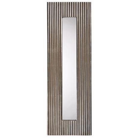 "Textured Bright Silver Leaf Finish Accent 50"" High Mirror"