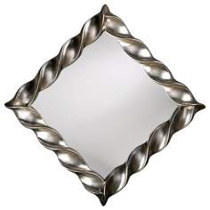 "Bright Silver Leaf Finish Twisted Accent 30"" Wide Mirror"