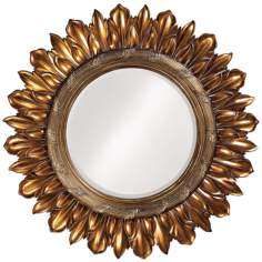 "Leaf Sunburst Antique Bronze Round 46"" Wide Wall Mirror"
