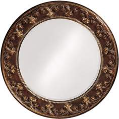 "Cassis Brown and Antique Gold Round 42"" Wide Wall Mirror"