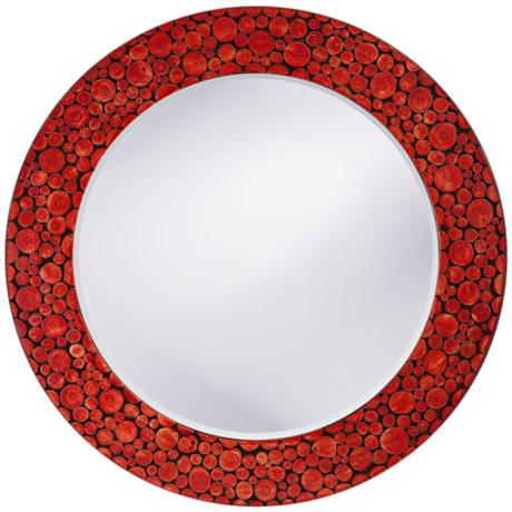 "Red Lacquer Acacia Wood 27"" Wide Wall Mirror"