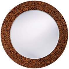"Brown Lacquer Acacia Wood 27"" Wide Wall Mirror"