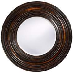 "Walnut Wood Finish Round 38"" Wide Wall Mirror"