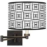 Tile Illusion Giclee Bronze Swing Arm Wall Light
