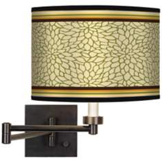 Stacy Garcia Avocado Dahlia Giclee Bronze Swing Arm Wall Lamp