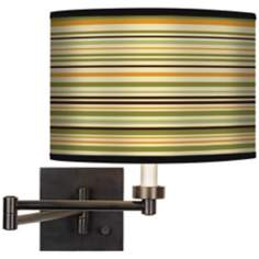 Stacy Garcia Avocado Stripe Giclee Bronze Swing Arm Wall Light