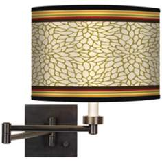 Stacy Garcia Spice Dahlia Giclee Bronze Swing Arm Wall Light