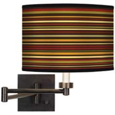 Stacy Garcia Spice Stripe Giclee Bronze Swing Arm Wall Light