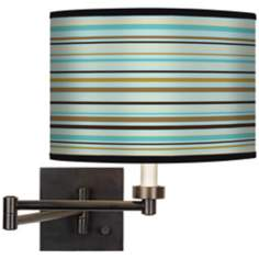 Stacy Garcia Countess Stripe Giclee Bronze Swing Arm Wall Light