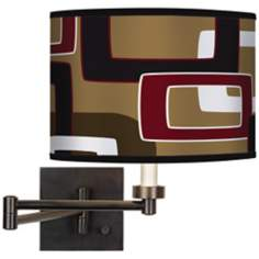Cola Retro Rectangles Giclee Bronze Swing Arm Wall Light