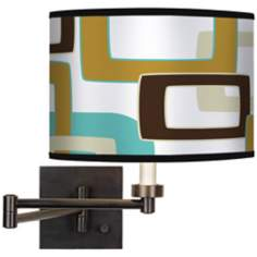 Countess Retro Rectangles Giclee Bronze Swing Arm Wall Light