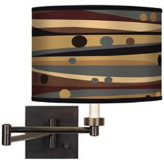 Natural Dot & Waves Giclee Bronze Swing Arm Wall Light