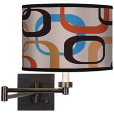 Spicy Square Scramble Giclee Bronze Swing Arm Wall Light