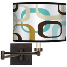 Countess Square Scramble Giclee Bronze Swing Arm Wall Lamp