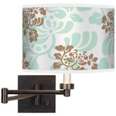 Classic Mist & Taupe Giclee Bronze Swing Arm Wall Light