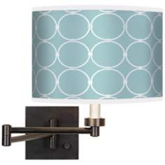 Aqua Interlace Giclee Bronze Swing Arm Wall Light