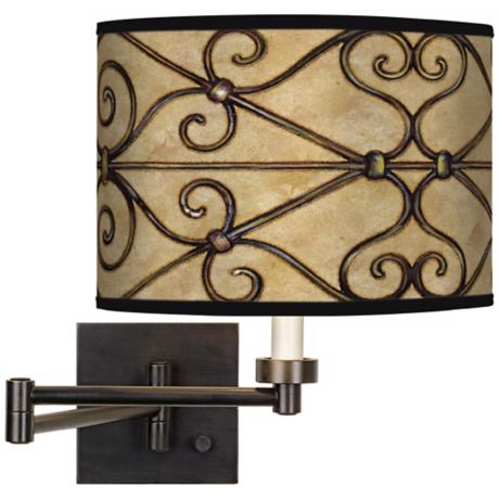 Trellis Hearts Giclee Bronze Swing Arm Wall Light
