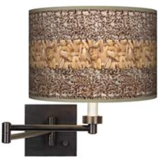 Woven Fundamentals Giclee Bronze Plug-In Swing Arm Wall Light
