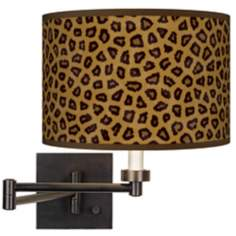 Safari Cheetah Giclee Bronze Swing Arm Wall Light
