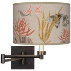 La Mer Coral Giclee Dark Bronze Plug-In Swing Arm Wall Light