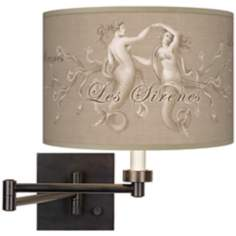 Les Sirenes Natural Giclee Bronze Plug-In Swing Arm Wall Light