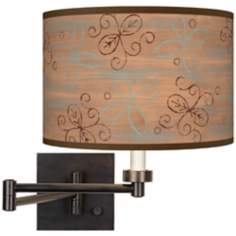 Cedar Lake Giclee Dark Bronze Plug-In Swing Arm Wall Light